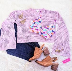 NWT Xhilaration Crocheted Cropped Sweater